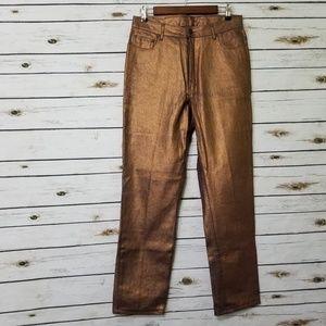 Newport News Jeanology Metallic Bronze Jeans